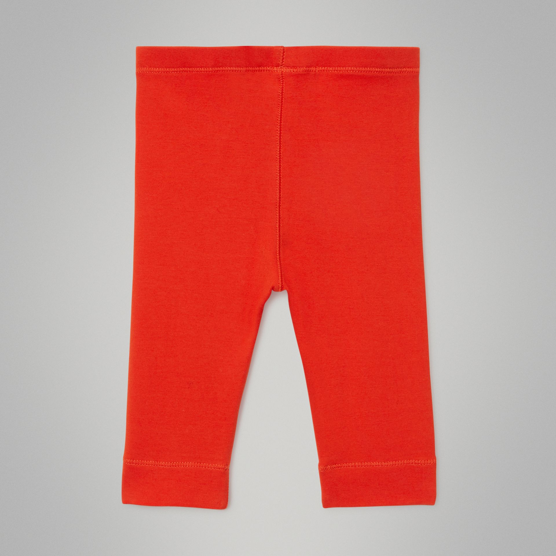 Logo Detail Stretch Cotton Leggings in Orange Red - Children | Burberry United Kingdom - gallery image 3