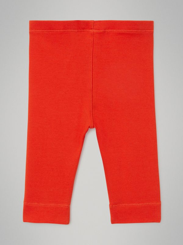 Logo Detail Stretch Cotton Leggings in Orange Red - Children | Burberry - cell image 3