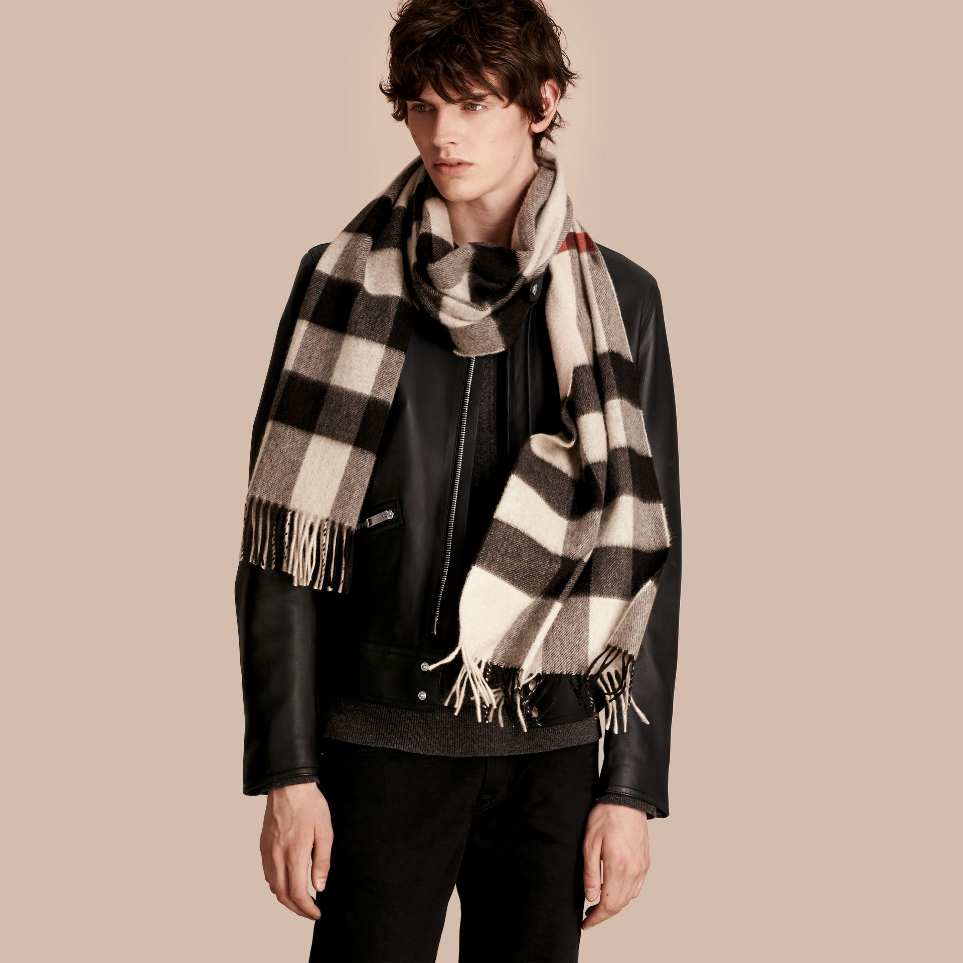 Stone check The Large Classic Cashmere Scarf in Check Stone - gallery image 4