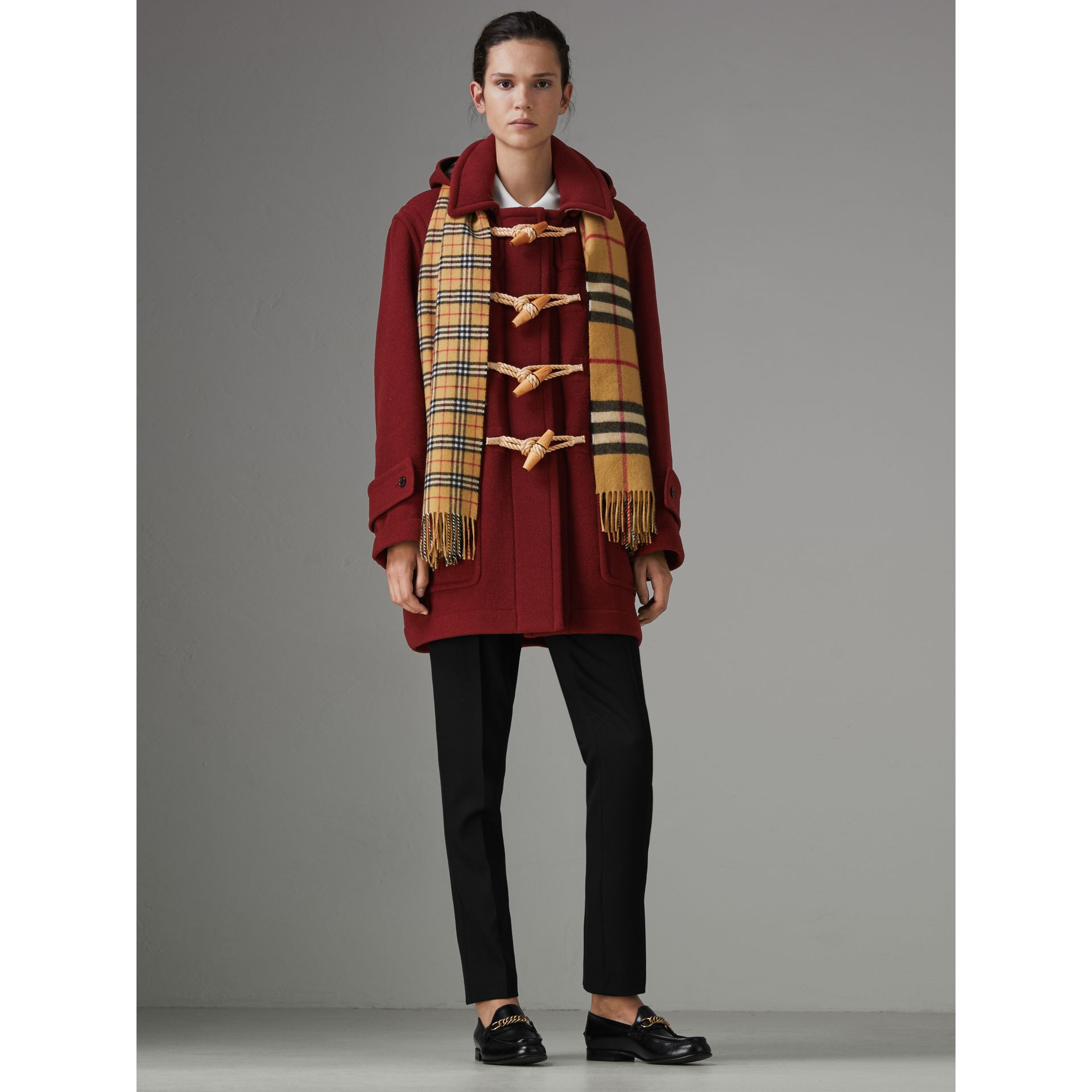 Gosha x Burberry Oversized Duffle Coat in Claret | Burberry United Kingdom - gallery image 2