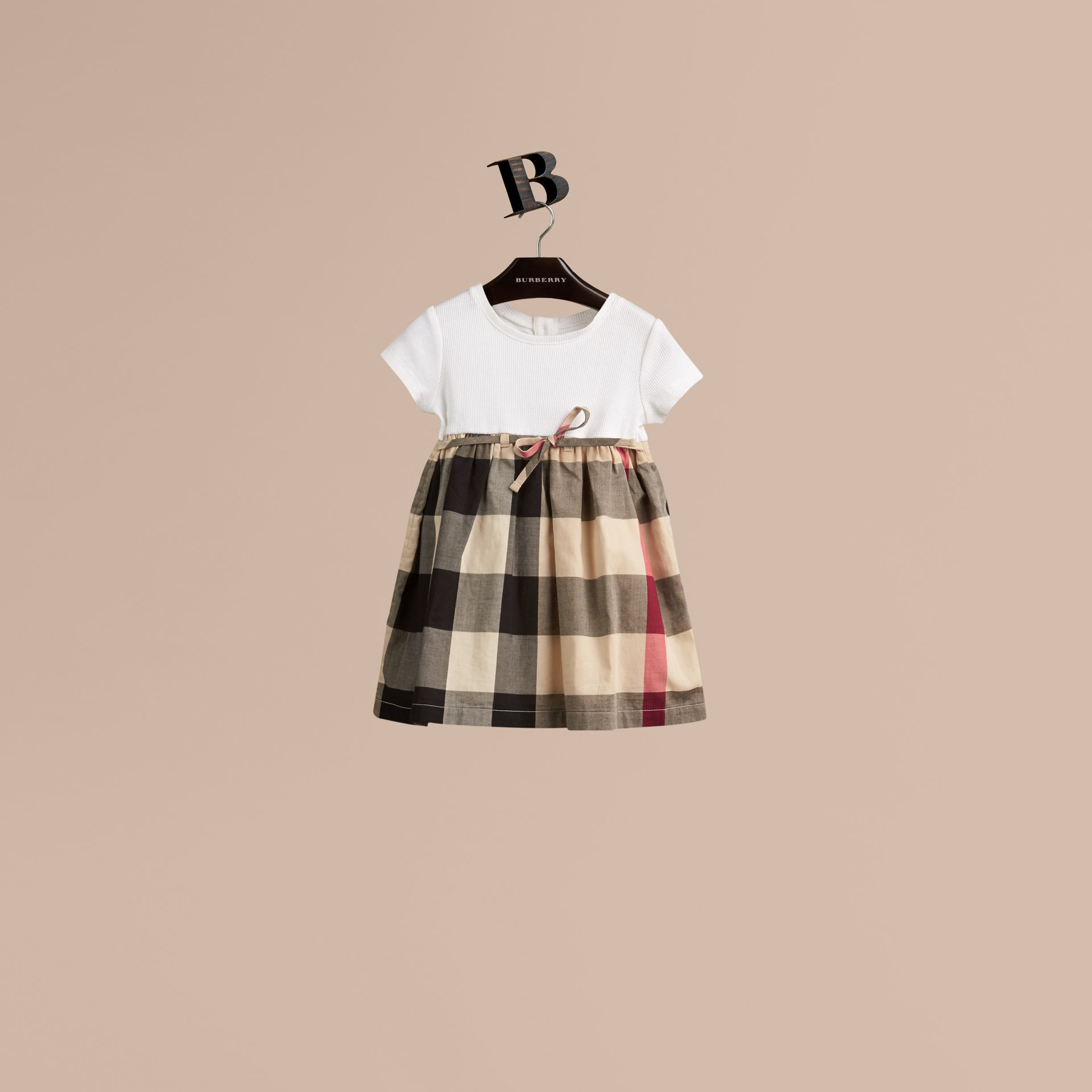 Check Cotton Jersey T-shirt Dress in New Classic | Burberry Australia - gallery image 1