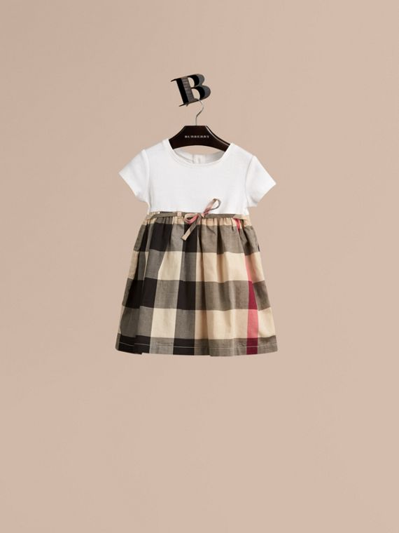Check Cotton Jersey T-shirt Dress in New Classic | Burberry