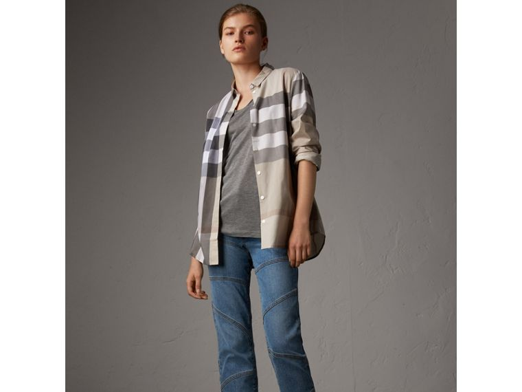 Check Cotton Shirt in Pale Stone - Women | Burberry United States - cell image 4