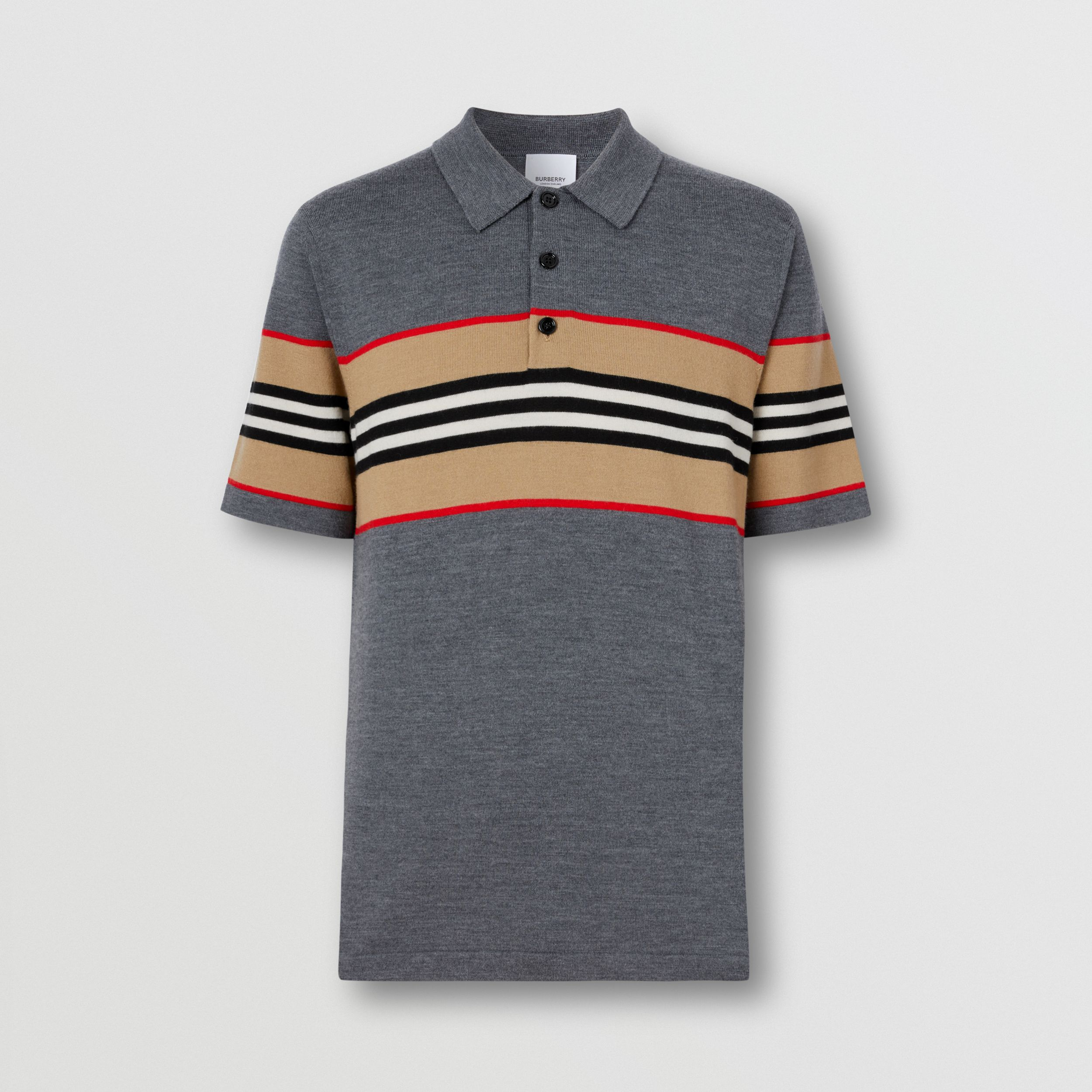 Icon Stripe Detail Merino Wool Polo Shirt in Dark Grey Melange - Men | Burberry - 4