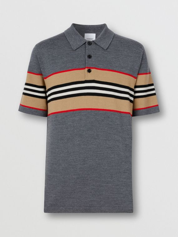 Icon Stripe Detail Merino Wool Polo Shirt in Dark Grey Melange