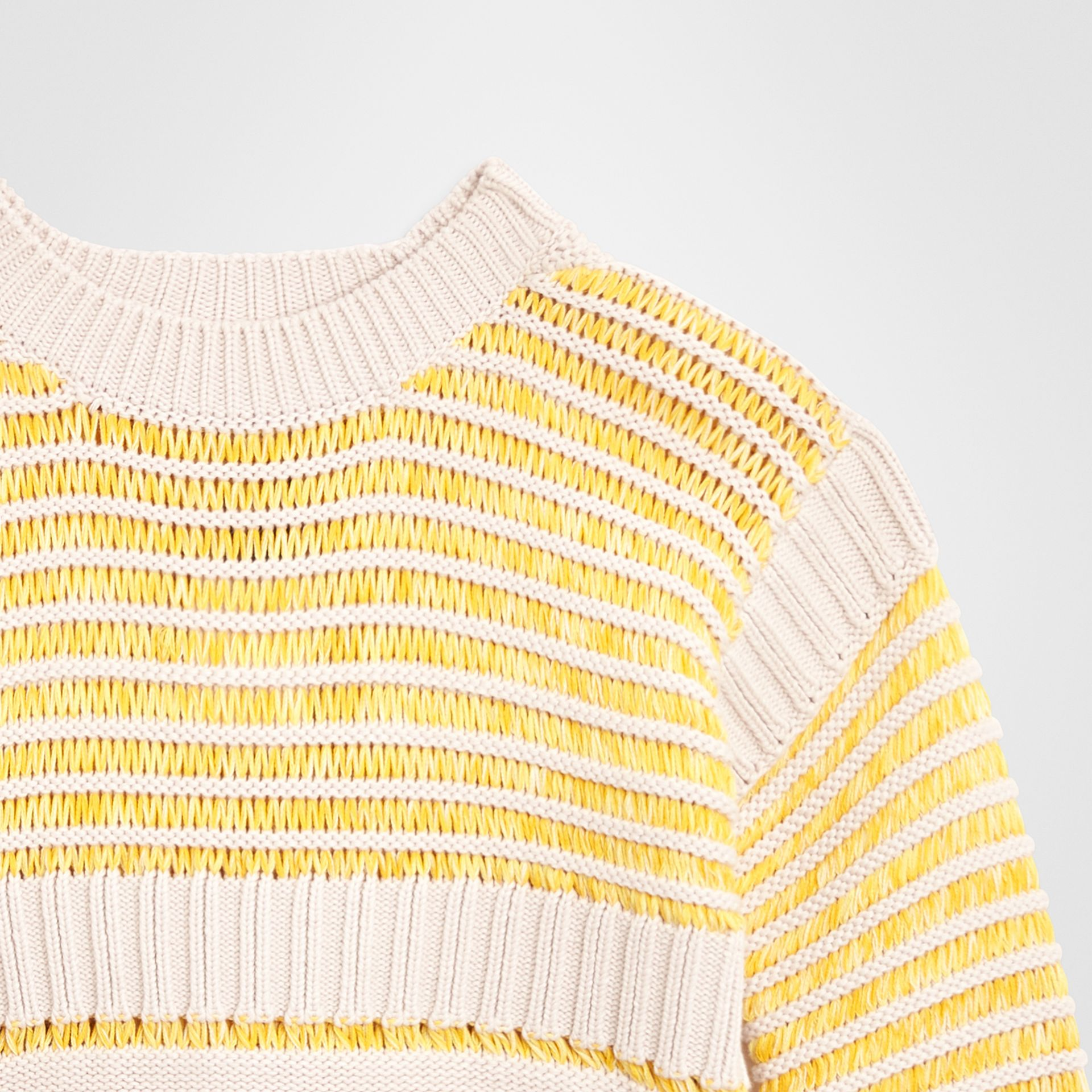 Rib Knit Cotton Sweater in Bright Yellow | Burberry - gallery image 4