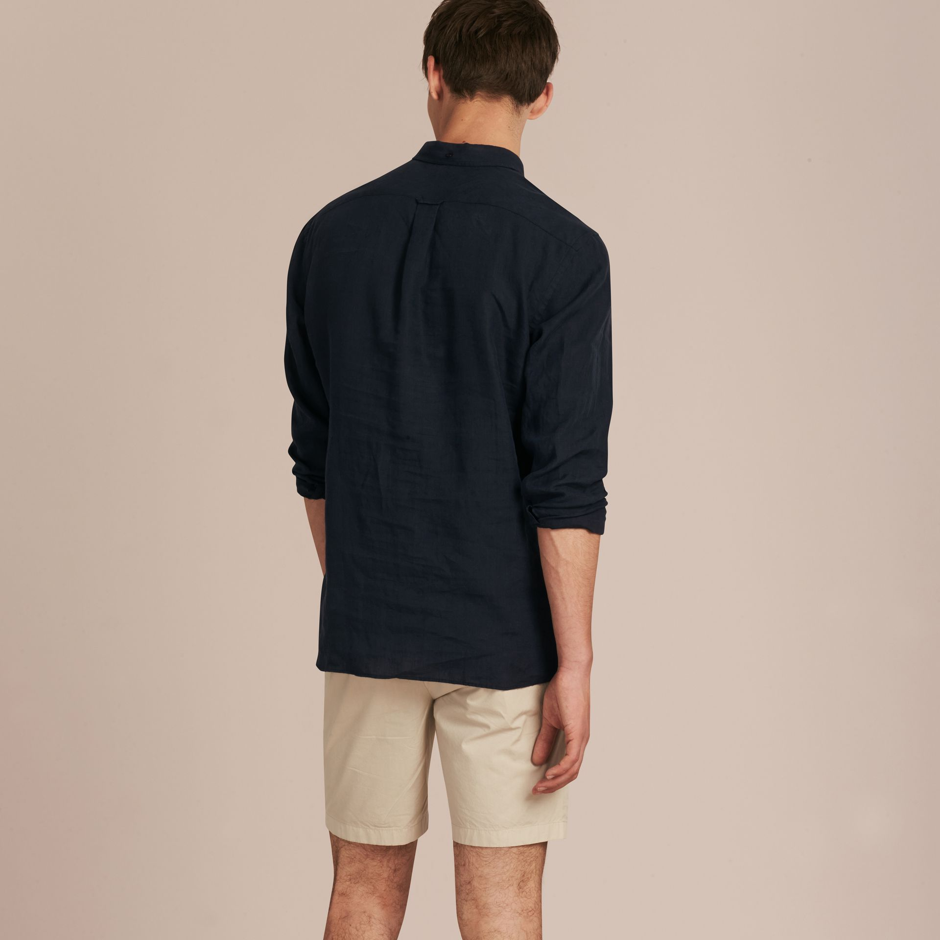 Cotton Poplin Chino Shorts Stone - gallery image 3