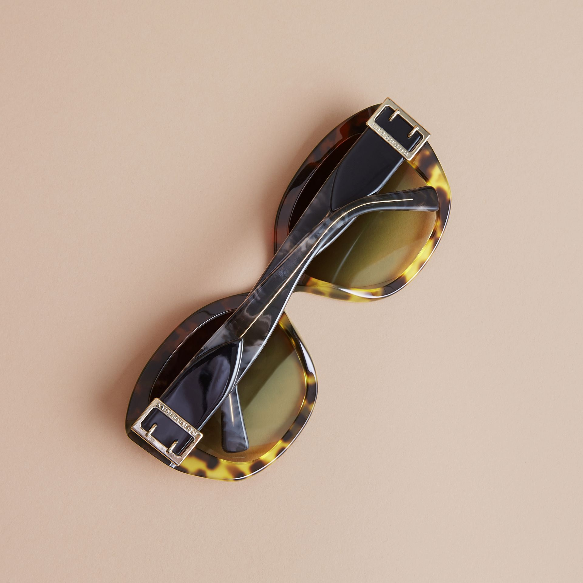 Buckle Detail Oversize Square Frame Sunglasses in Amber Yellow - Women | Burberry - gallery image 4