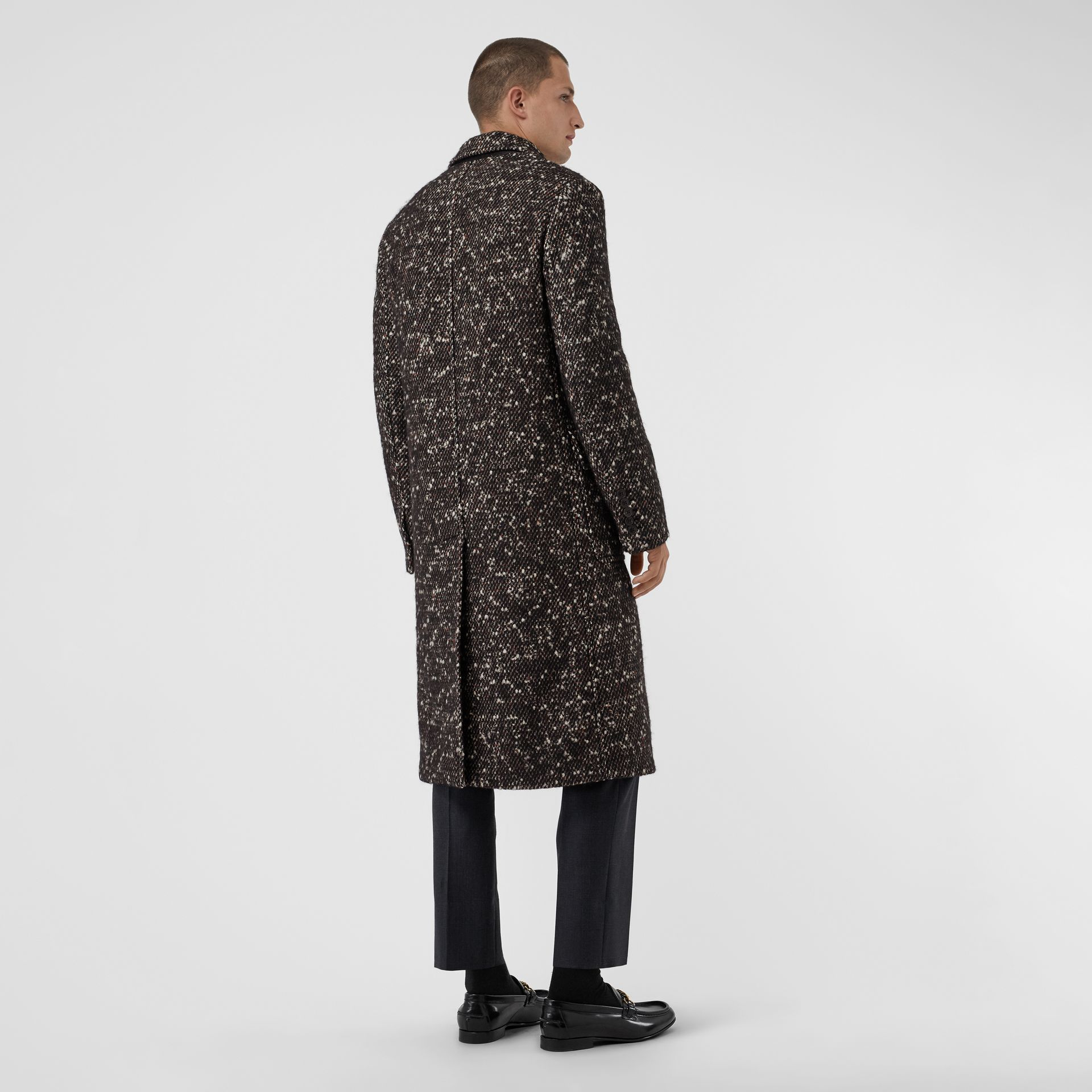 Wool Mohair Blend Tweed Tailored Coat in Black - Men | Burberry - gallery image 2