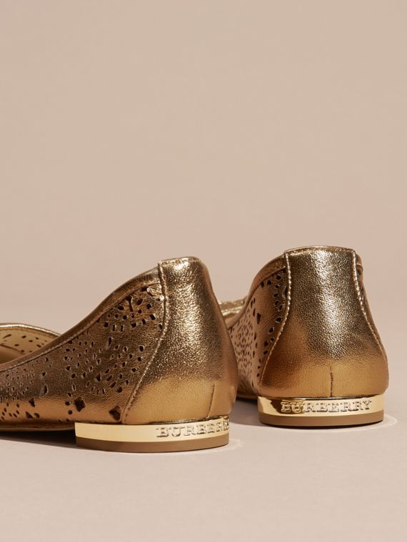 Heritage gold Laser-cut Metallic Leather Ballerinas - cell image 3