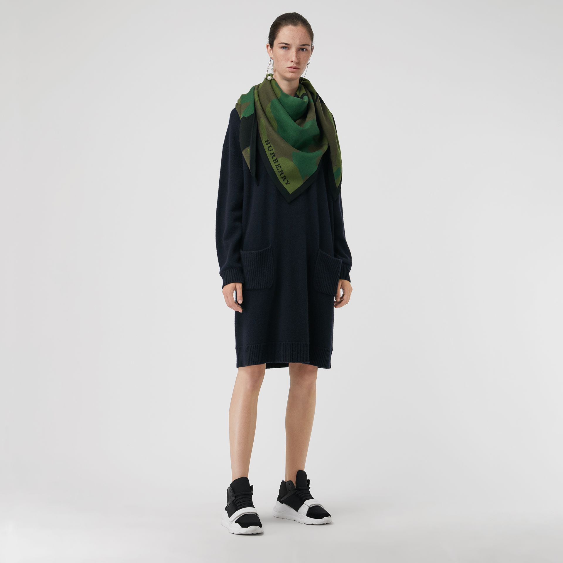 Cashmere Sweater Dress in Navy - Women | Burberry United States - gallery image 5