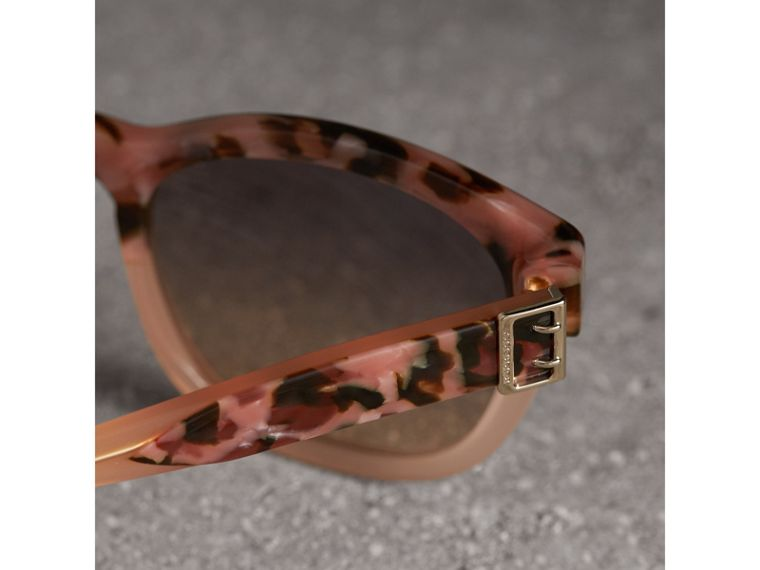 Buckle Detail Square Frame Sunglasses in Nude - Women | Burberry Hong Kong - cell image 1