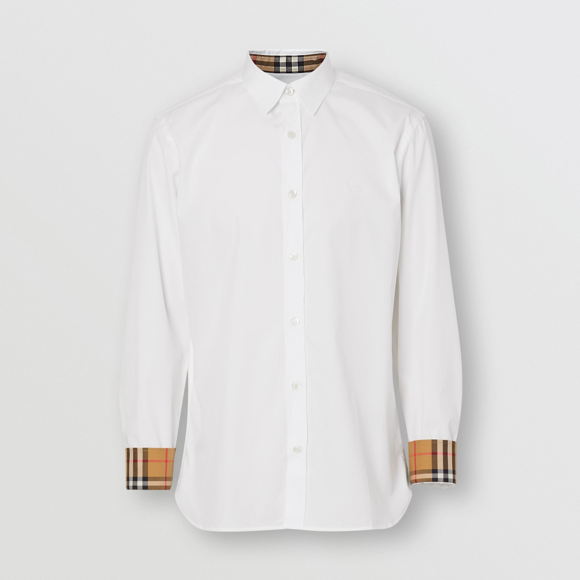 Stretch Cotton Poplin Shirt in White - Men | Burberry Canada - gallery image 3
