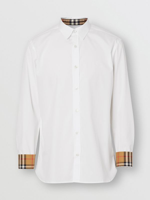 Stretch Cotton Poplin Shirt in White - Men | Burberry Canada - cell image 3