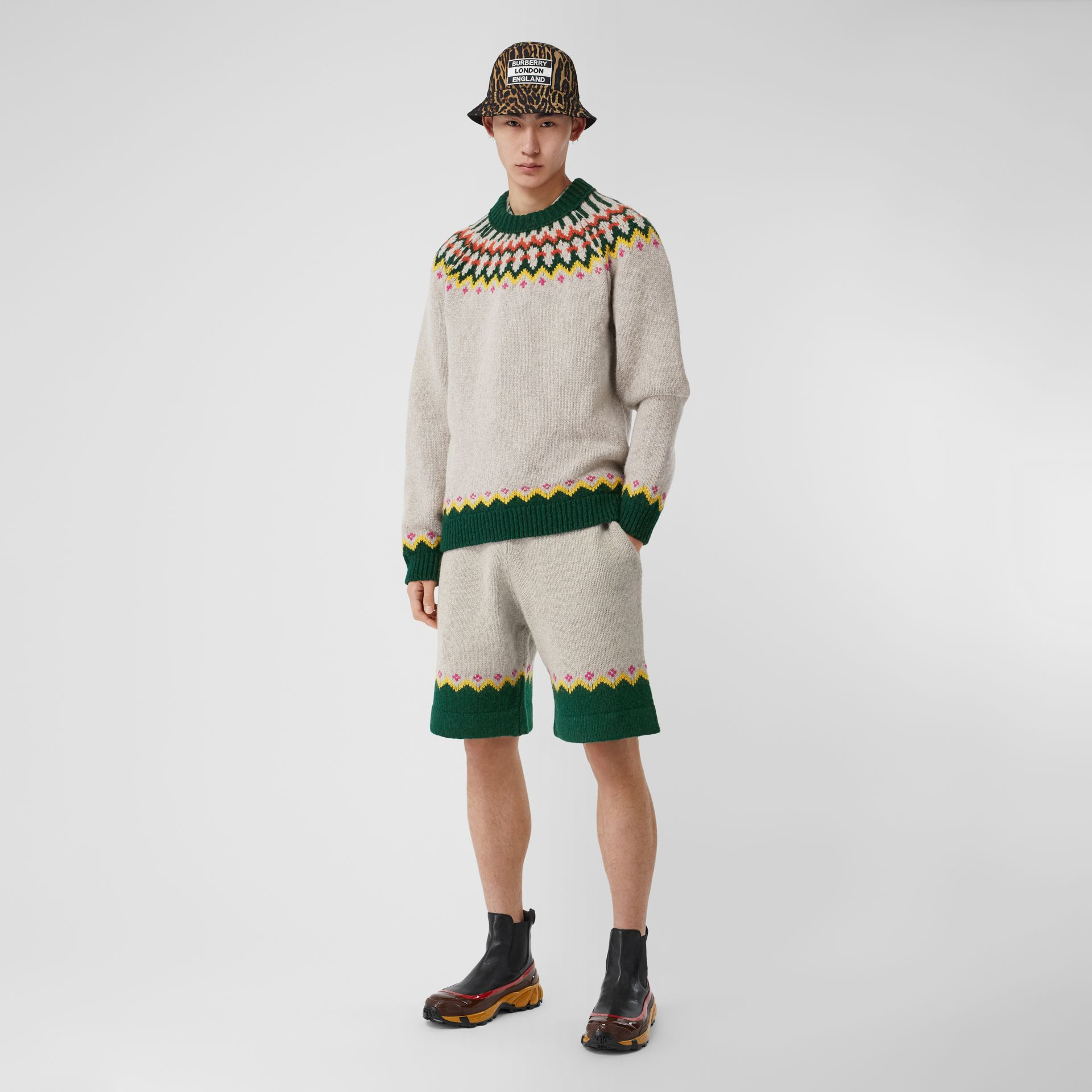 Fair Isle Wool Drawcord Shorts in Sesame - Men | Burberry Hong Kong S.A.R - gallery image 0
