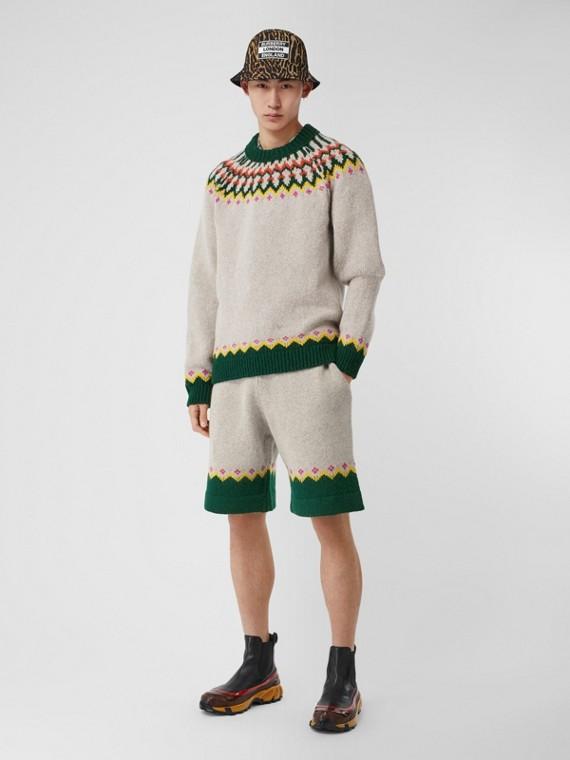 Fair Isle Wool Drawcord Shorts in Sesame