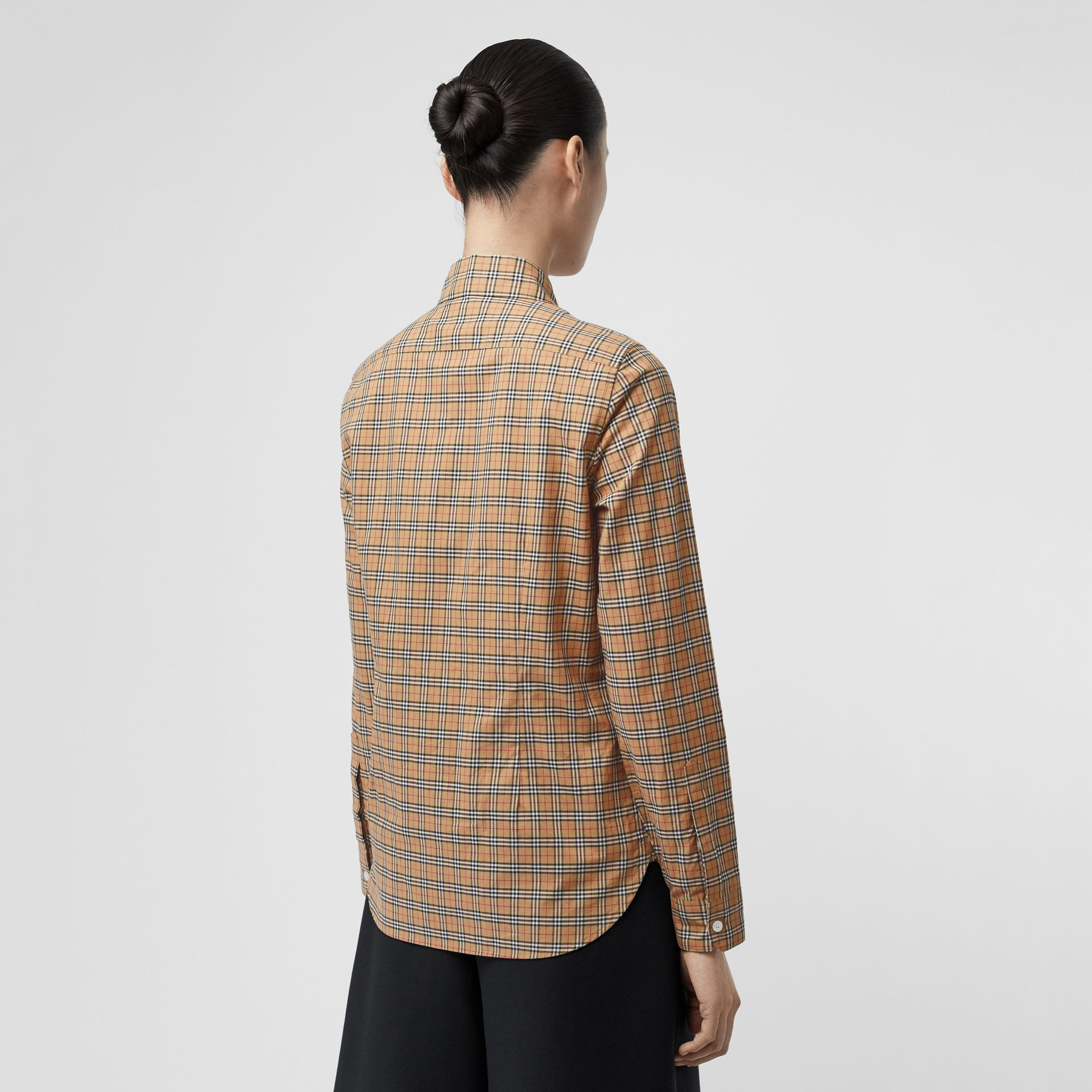 Check Cotton Shirt in Antique Yellow - Women | Burberry - gallery image 2