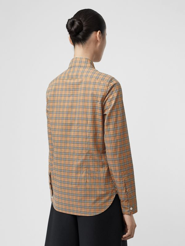 Check Cotton Shirt in Antique Yellow - Women | Burberry - cell image 2