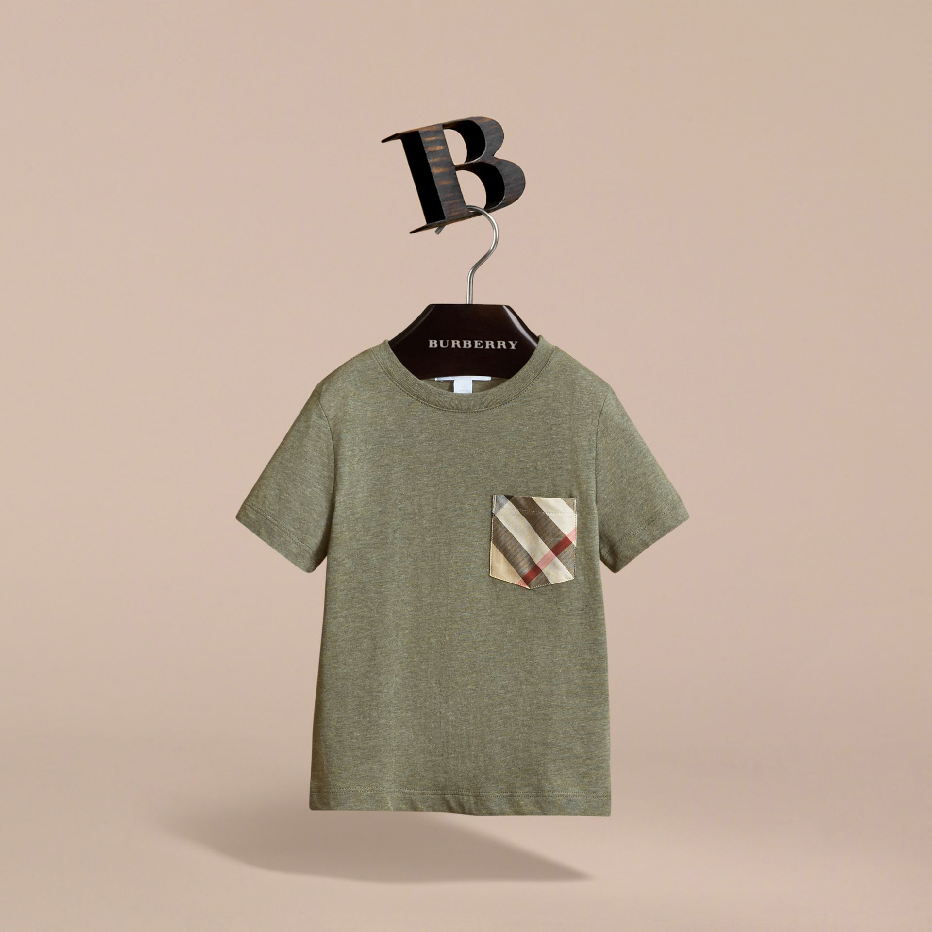 Check Pocket Cotton T-shirt in Khaki Green | Burberry Hong Kong - gallery image 3