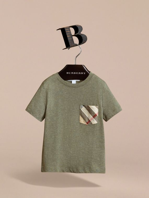 Check Pocket Cotton T-shirt in Khaki Green | Burberry - cell image 2
