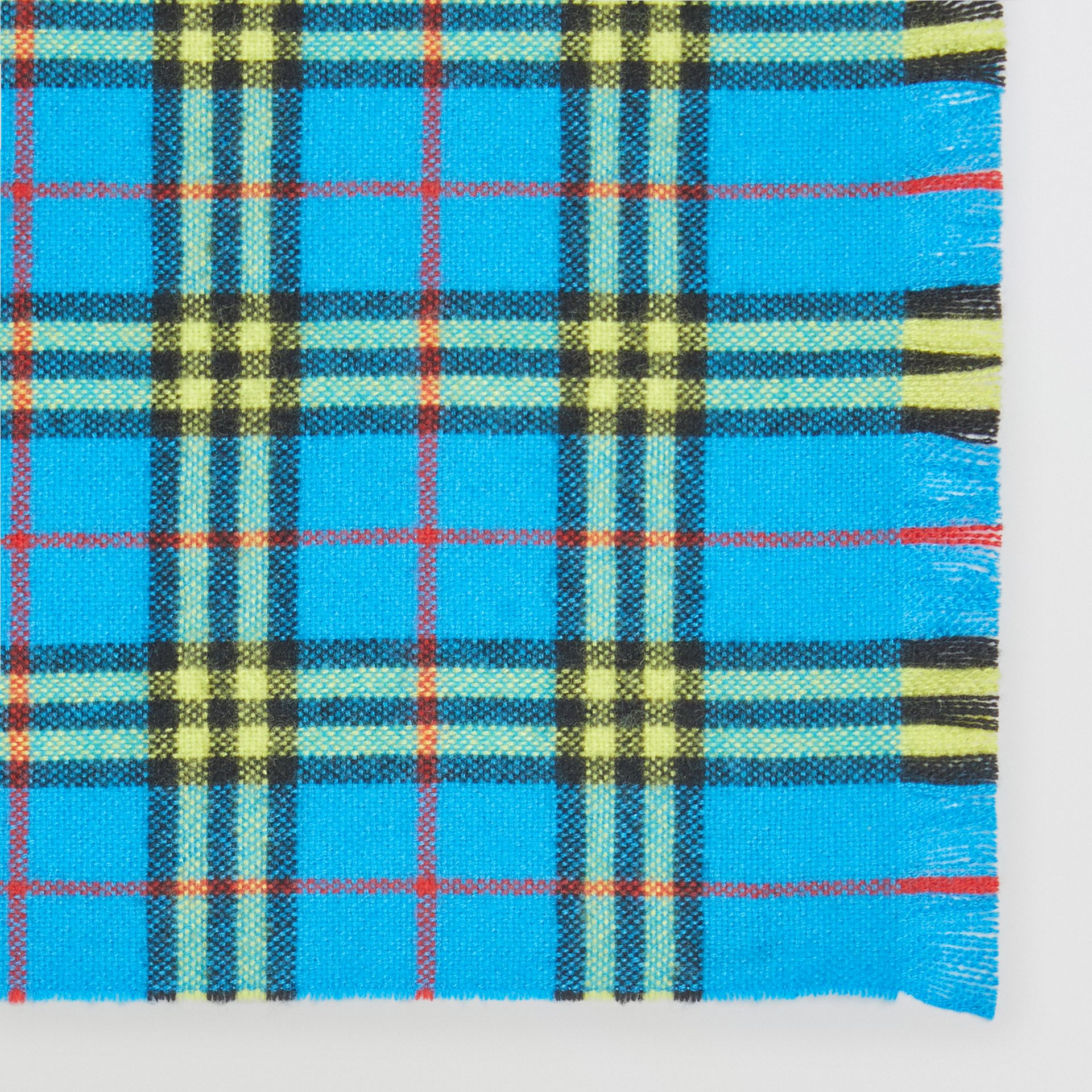 Check Cashmere Scarf in Bright Sky Blue | Burberry - gallery image 1