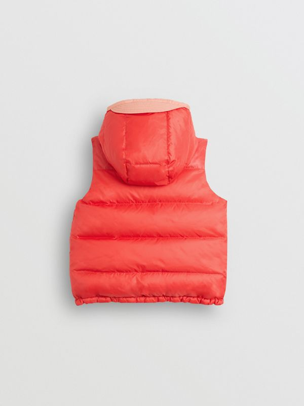 Reversible Showerproof Down-filled Hooded Gilet in Coral Pink - Children | Burberry - cell image 3