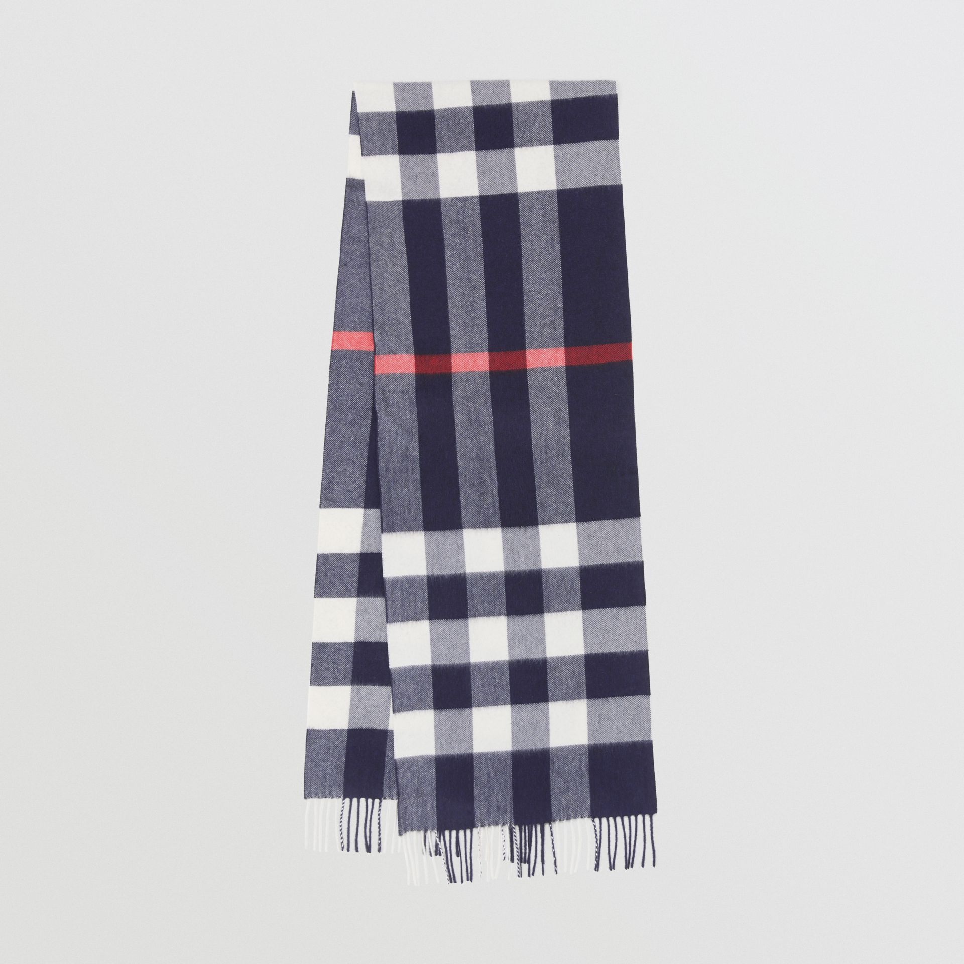 Check Cashmere Scarf in Navy | Burberry United States - gallery image 0