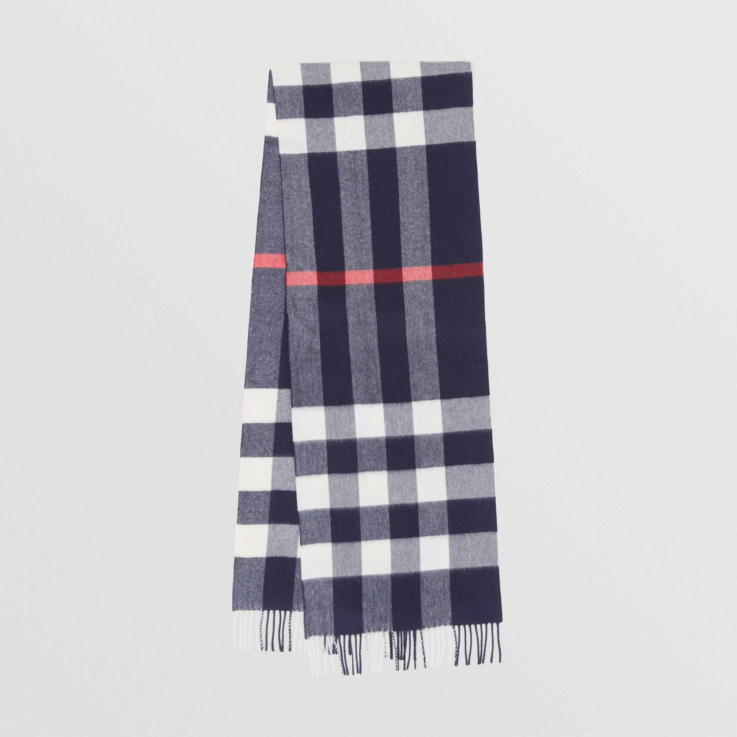 Check Cashmere Scarf in Navy | Burberry - 1