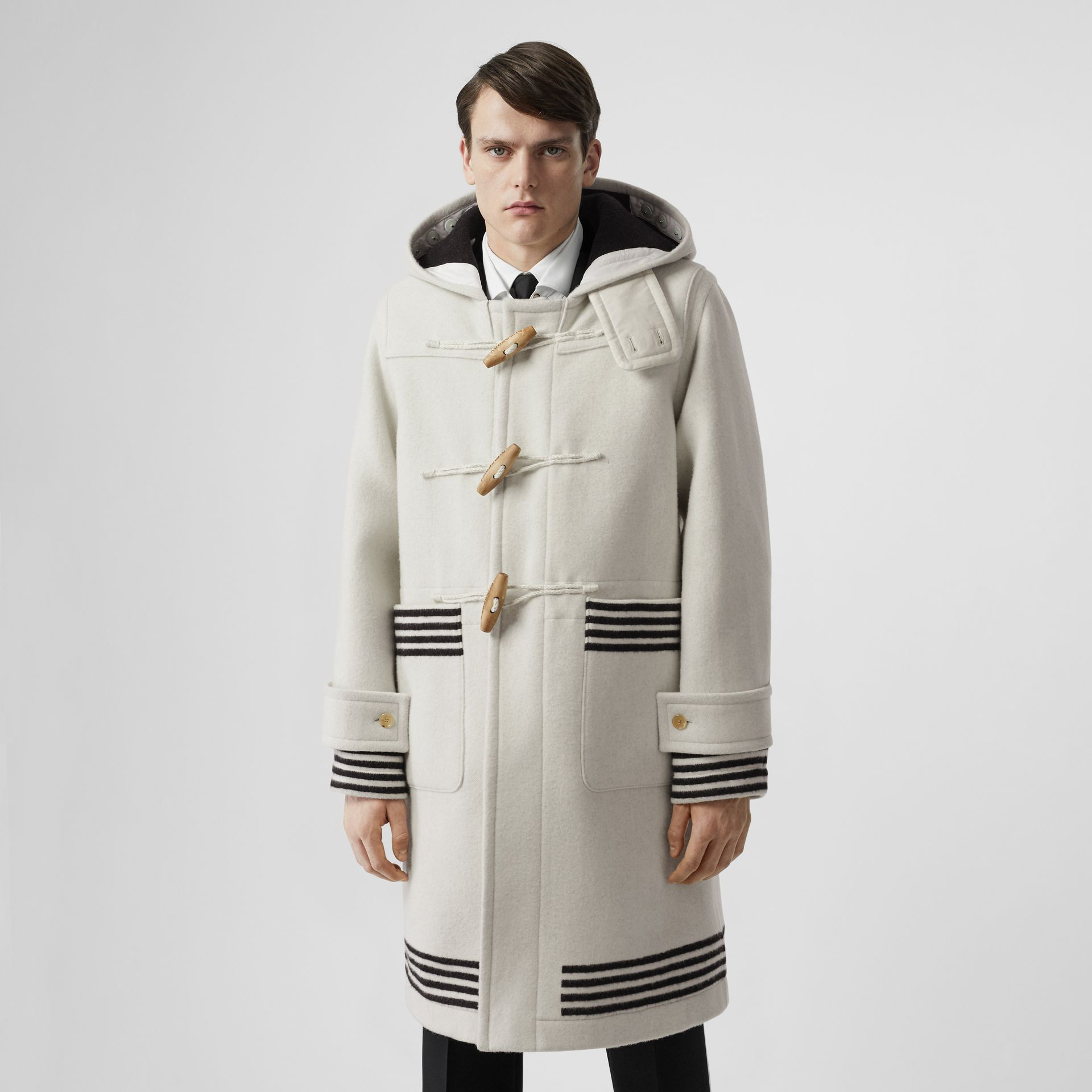 Stripe Detail Double-faced Wool Duffle Coat in White - Men | Burberry - gallery image 4