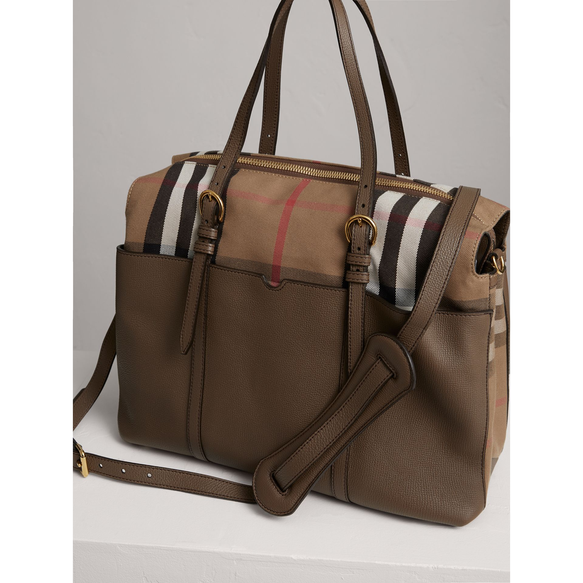 House Check and Leather Baby Changing Bag in Taupe Grey | Burberry Singapore - gallery image 3