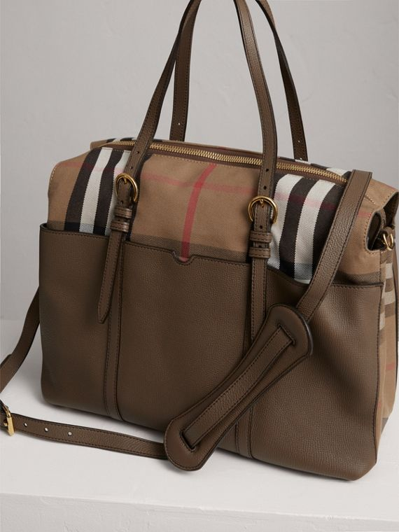 House Check and Leather Baby Changing Bag in Taupe Grey | Burberry Singapore - cell image 3