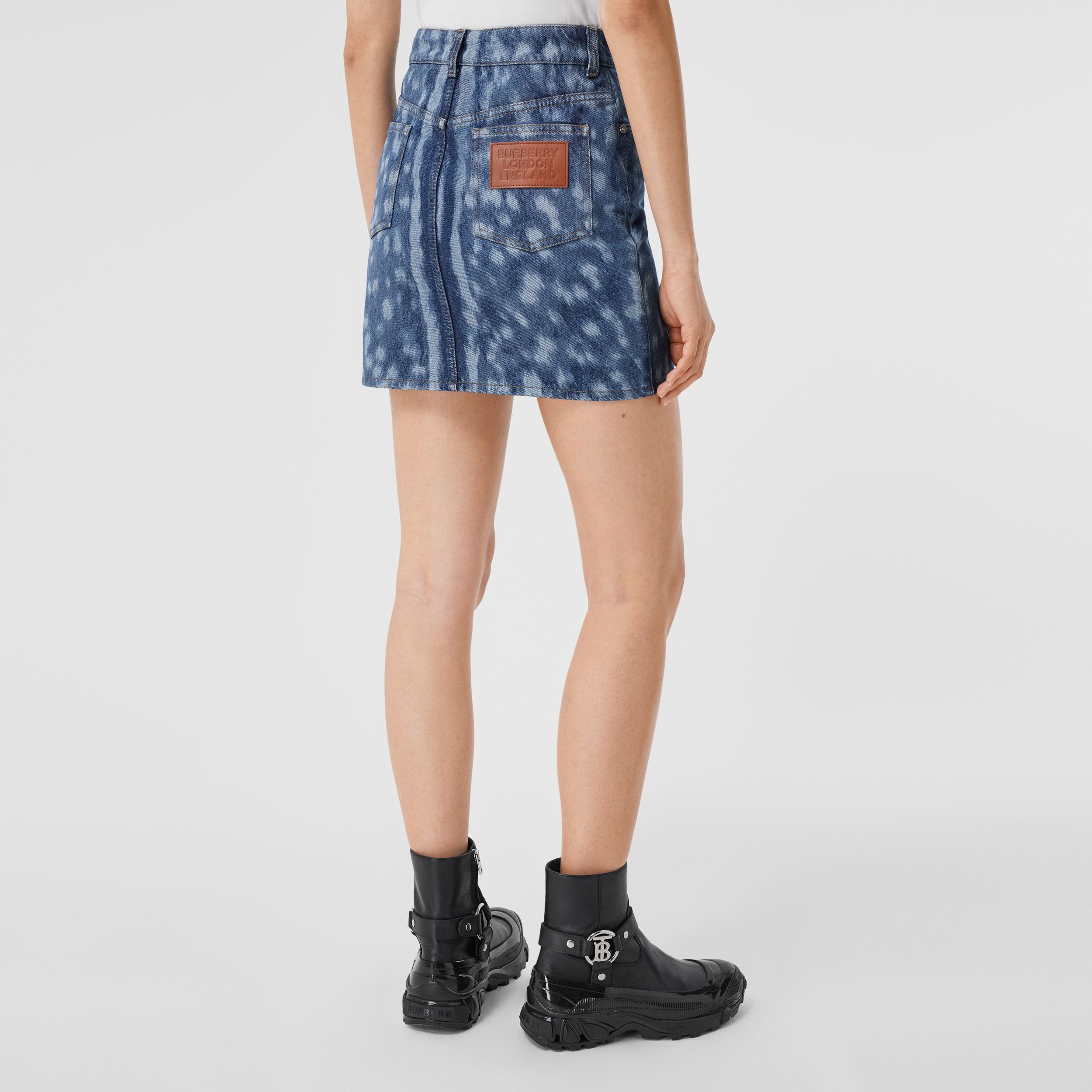 Deer Print Denim Mini Skirt in Mid Indigo - Women | Burberry - 3
