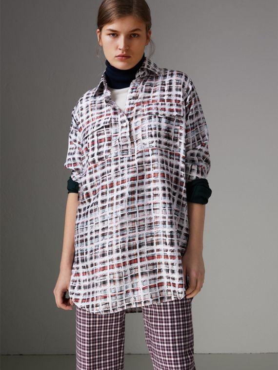 Scribble Check Silk Shirt in Cadmium Red