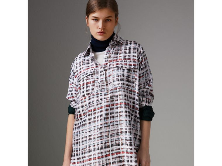 Scribble Check Silk Shirt in Cadmium Red - Women | Burberry - cell image 4