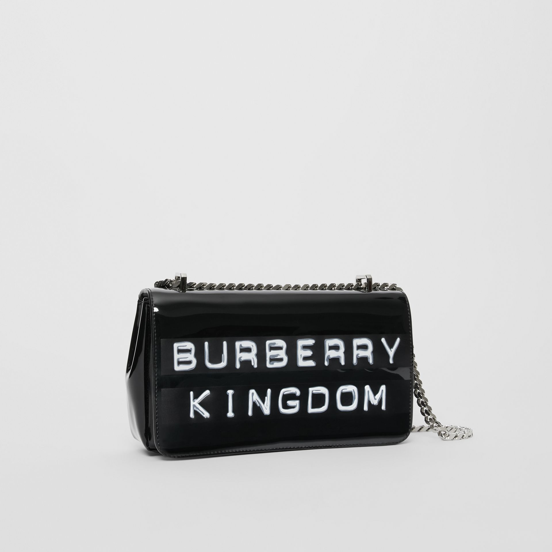 Small Tape Print Laminated Lola Bag in Black | Burberry United States - gallery image 4