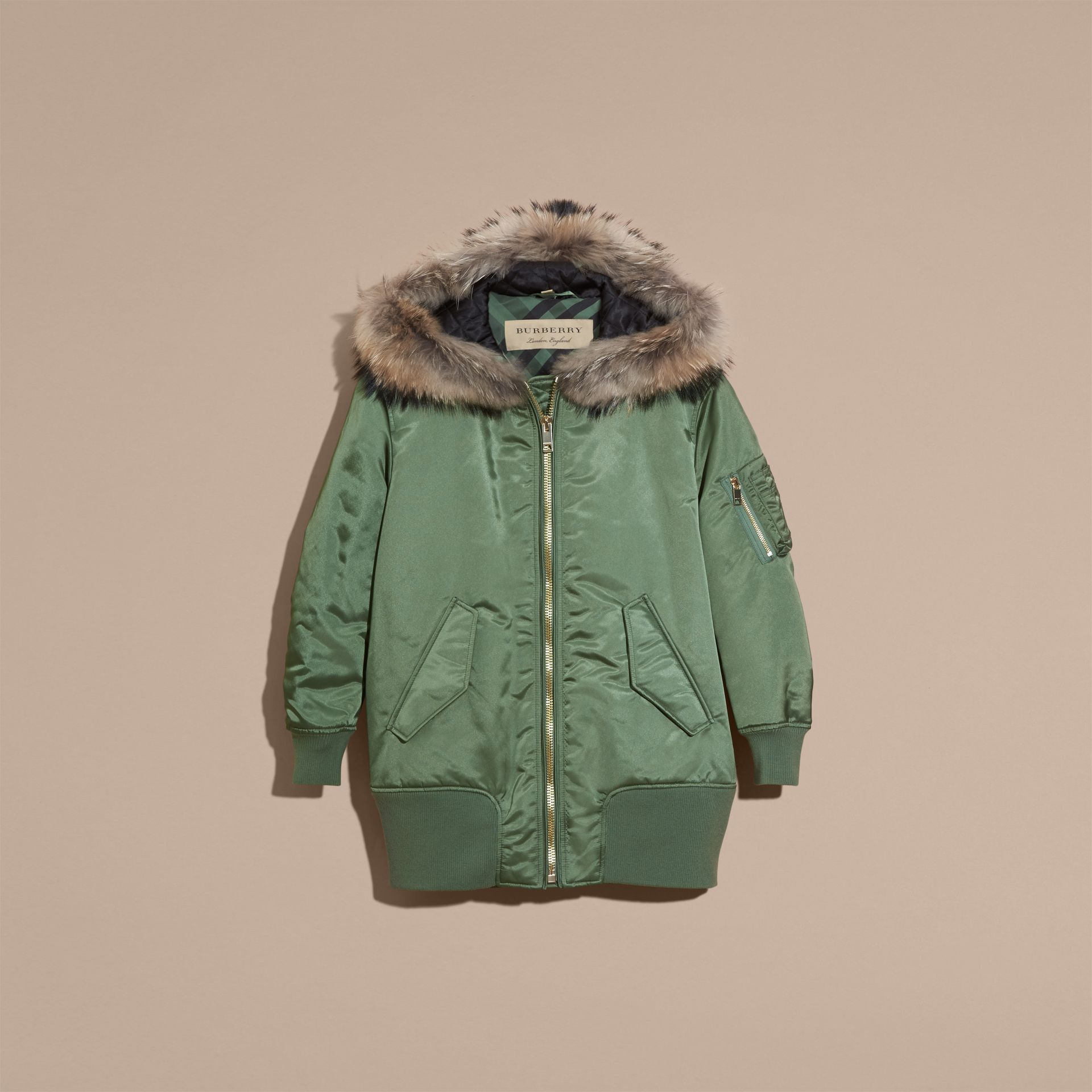 Eucalyptus green Long-line Satin Bomber Jacket with Fur-trimmed Hood Eucalyptus Green - gallery image 4