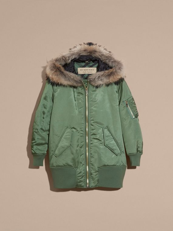 Eucalyptus green Long-line Satin Bomber Jacket with Fur-trimmed Hood Eucalyptus Green - cell image 3