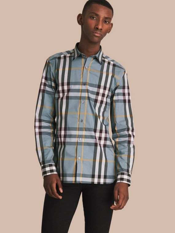 Check Stretch Cotton Shirt in Mineral Blue - Men | Burberry Canada