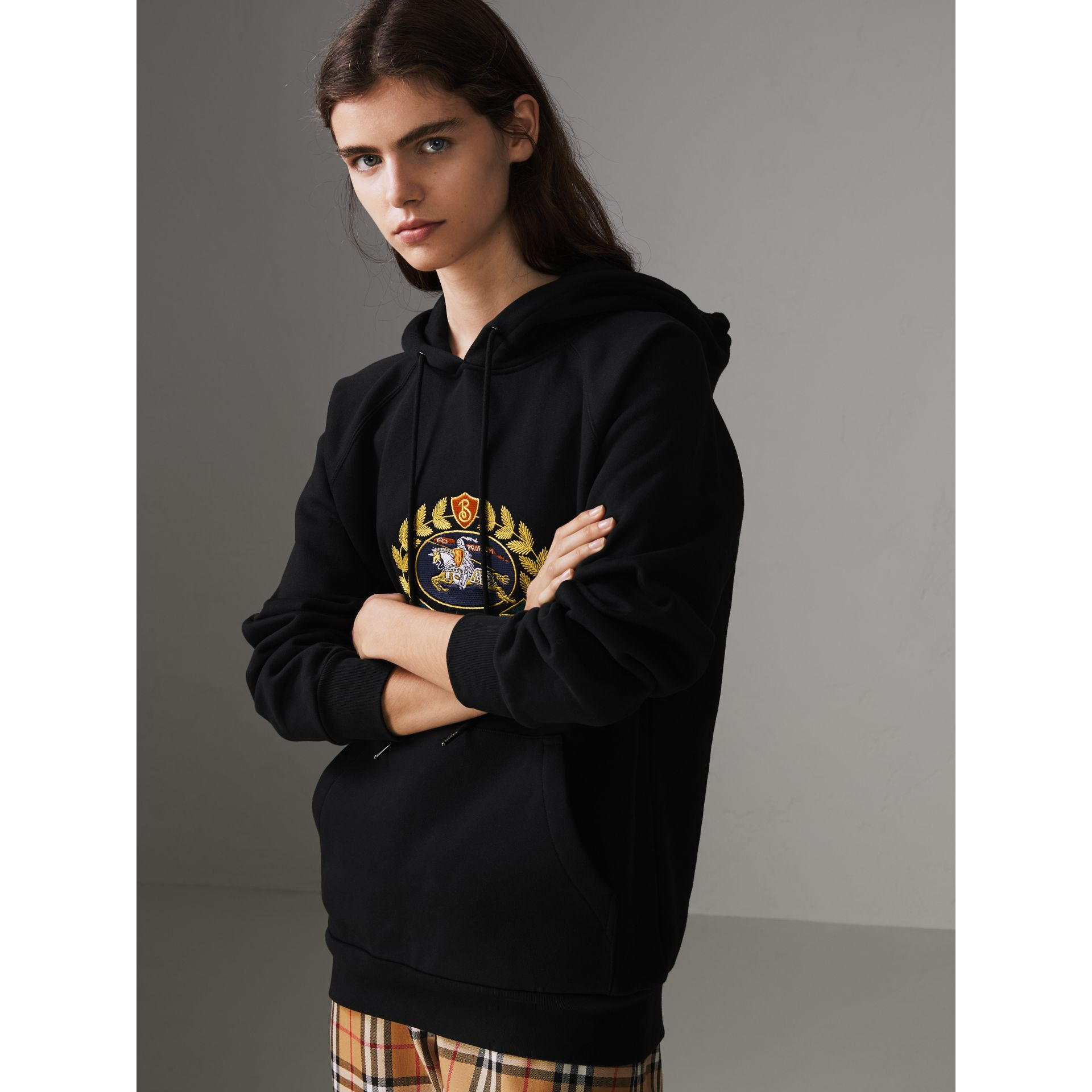 Embroidered Archive Logo Oversized Hoodie in Black - Women | Burberry United States - gallery image 4