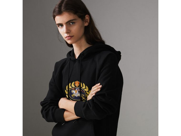 Embroidered Archive Logo Oversized Hoodie in Black - Women | Burberry United States - cell image 4