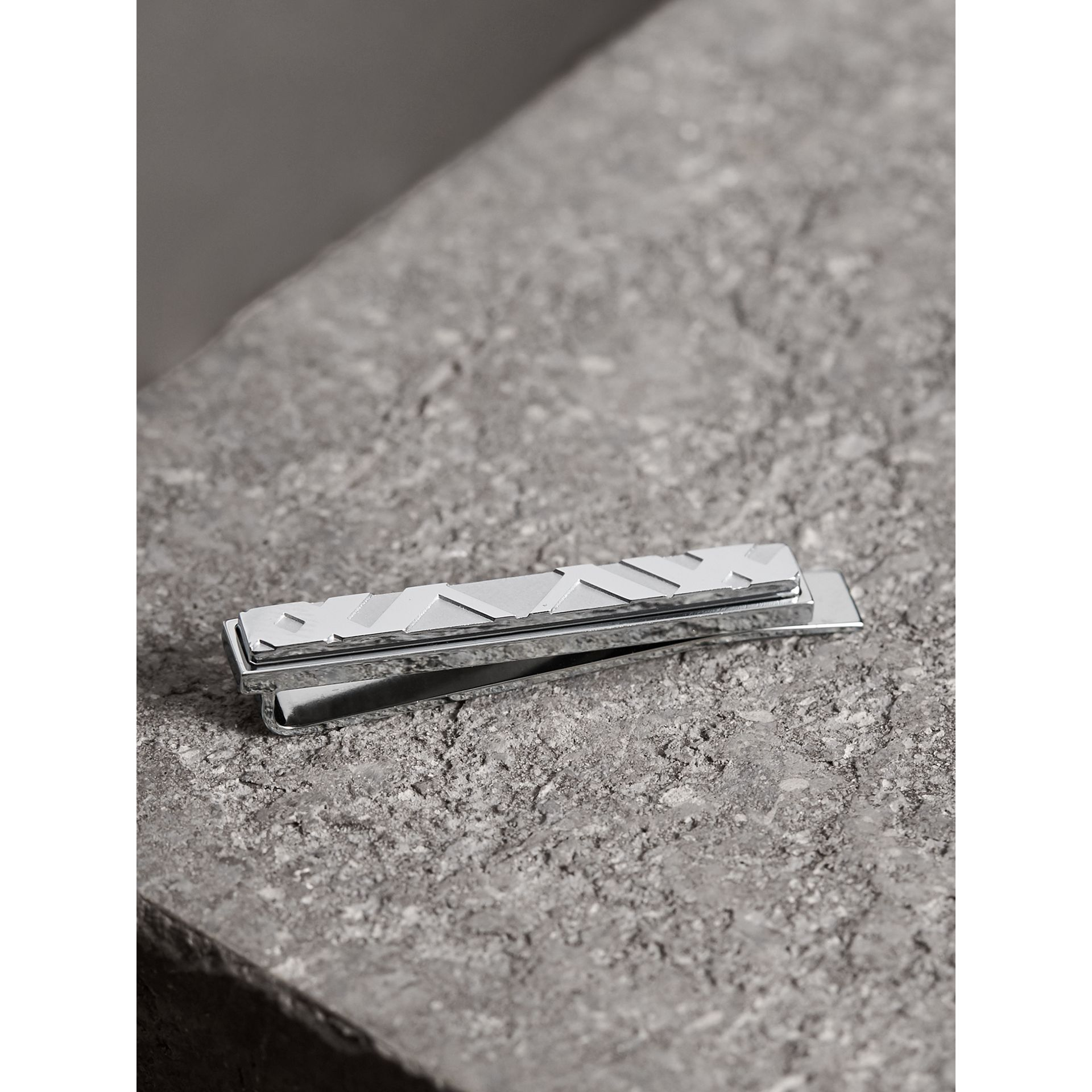 Check-engraved Tie Bar in Silver - Men | Burberry - gallery image 1