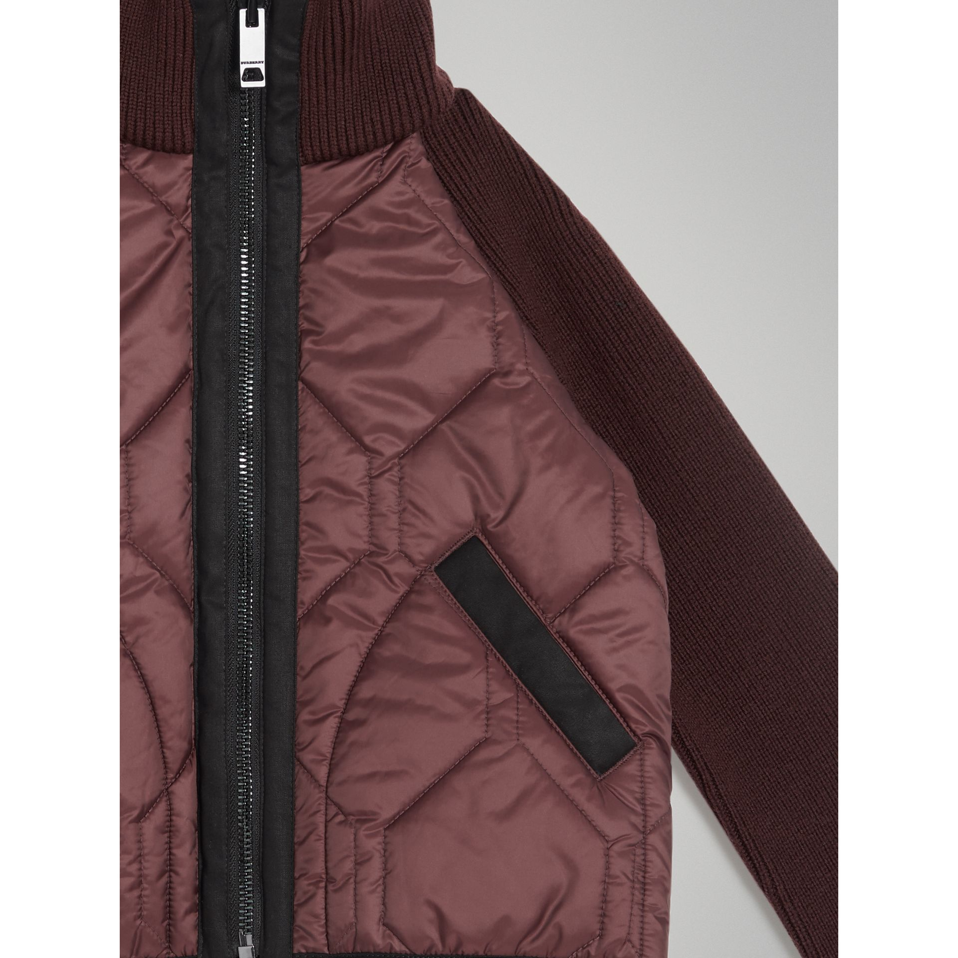 Knitted Sleeve Quilted Jacket in Burgundy | Burberry Australia - gallery image 3
