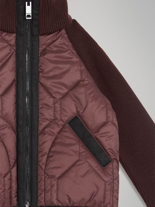 Knitted Sleeve Quilted Jacket in Burgundy | Burberry Australia - cell image 3