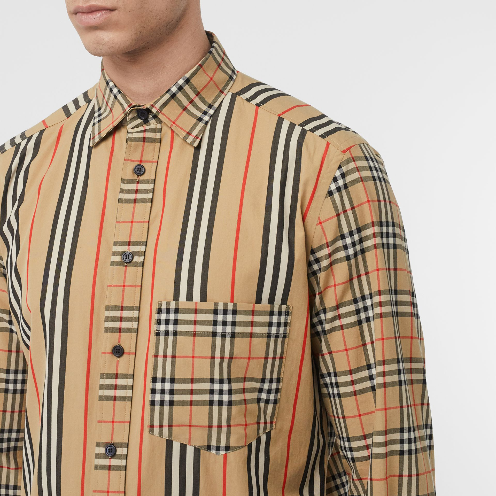 Classic Fit Patchwork Cotton Poplin Shirt in Archive Beige - Men | Burberry - gallery image 1