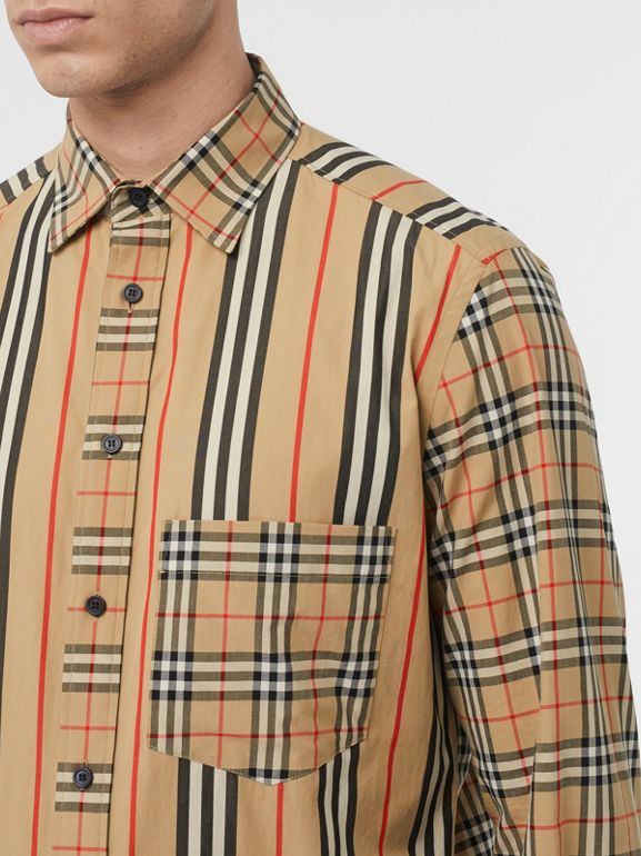 Classic Fit Patchwork Cotton Poplin Shirt in Archive Beige - Men | Burberry United Kingdom - cell image 1