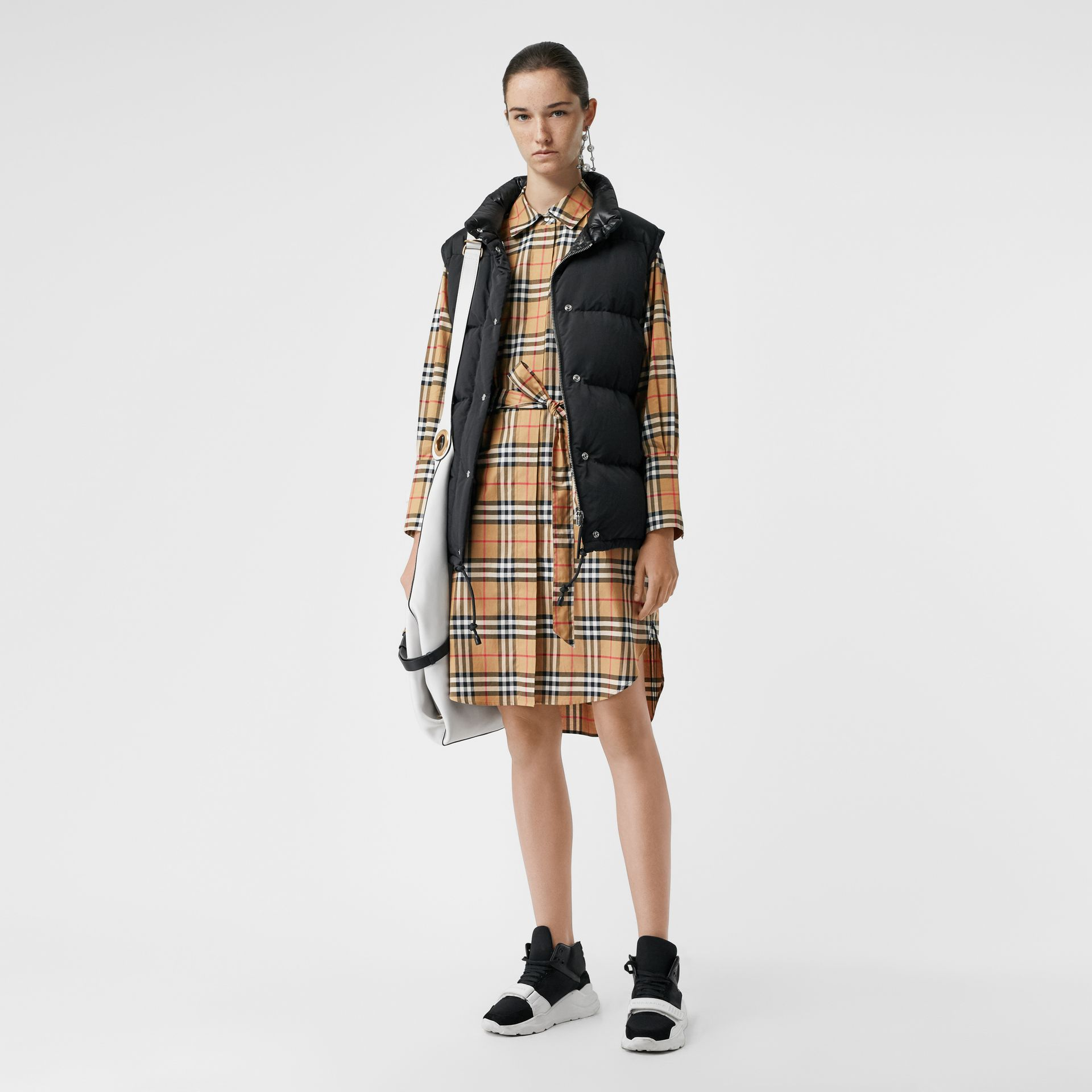 Vintage Check Cotton Tie-waist Shirt Dress in Antique Yellow - Women | Burberry - gallery image 0