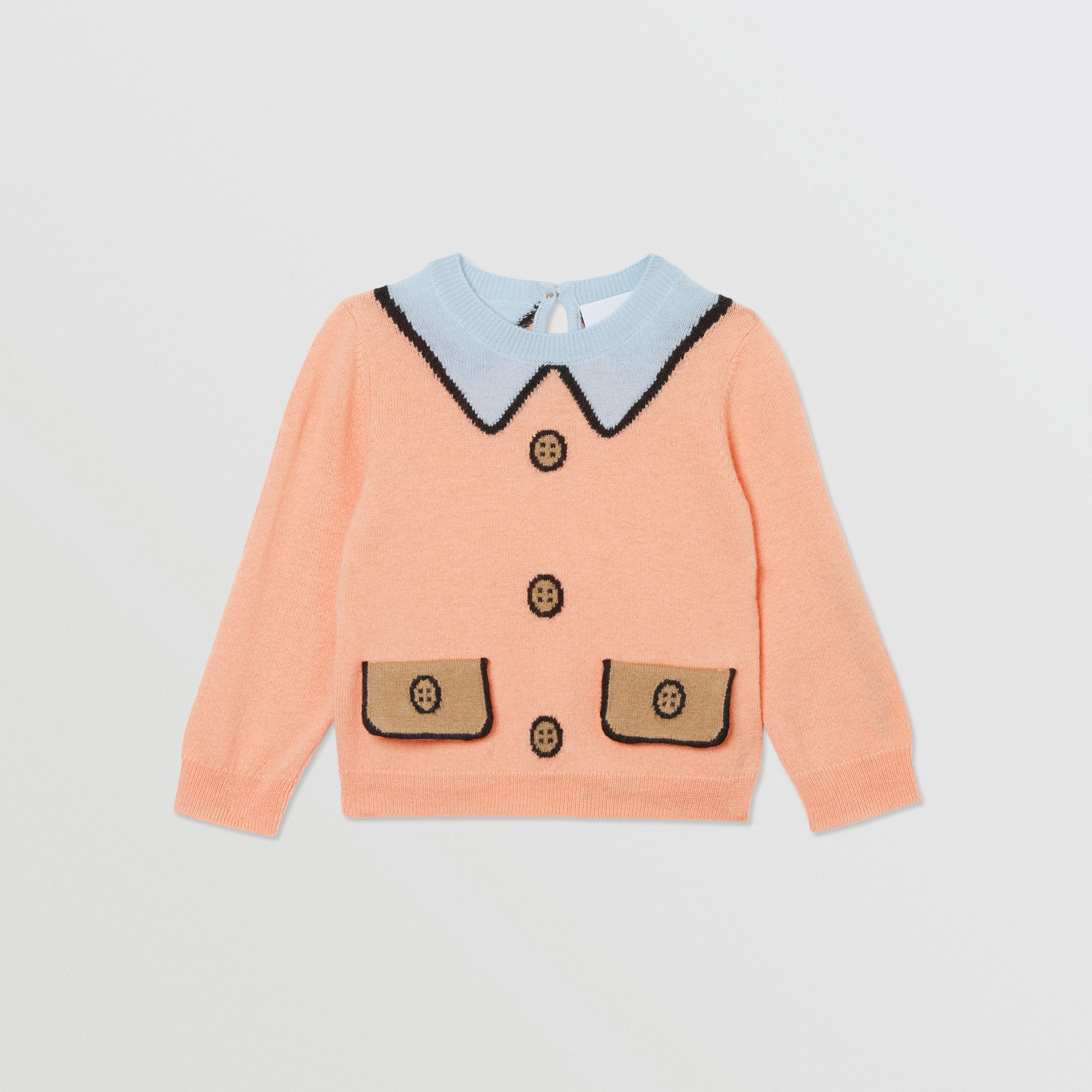 Trompe L'Oeil Intarsia Wool Cashmere Sweater in Peach - Children | Burberry - 1