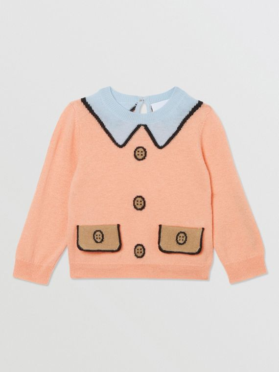 Trompe L'Oeil Intarsia Wool Cashmere Sweater in Peach