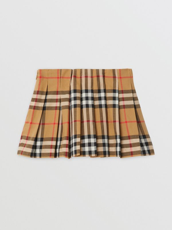Vintage Check Pleated Skirt in Antique Yellow - Children | Burberry - cell image 3