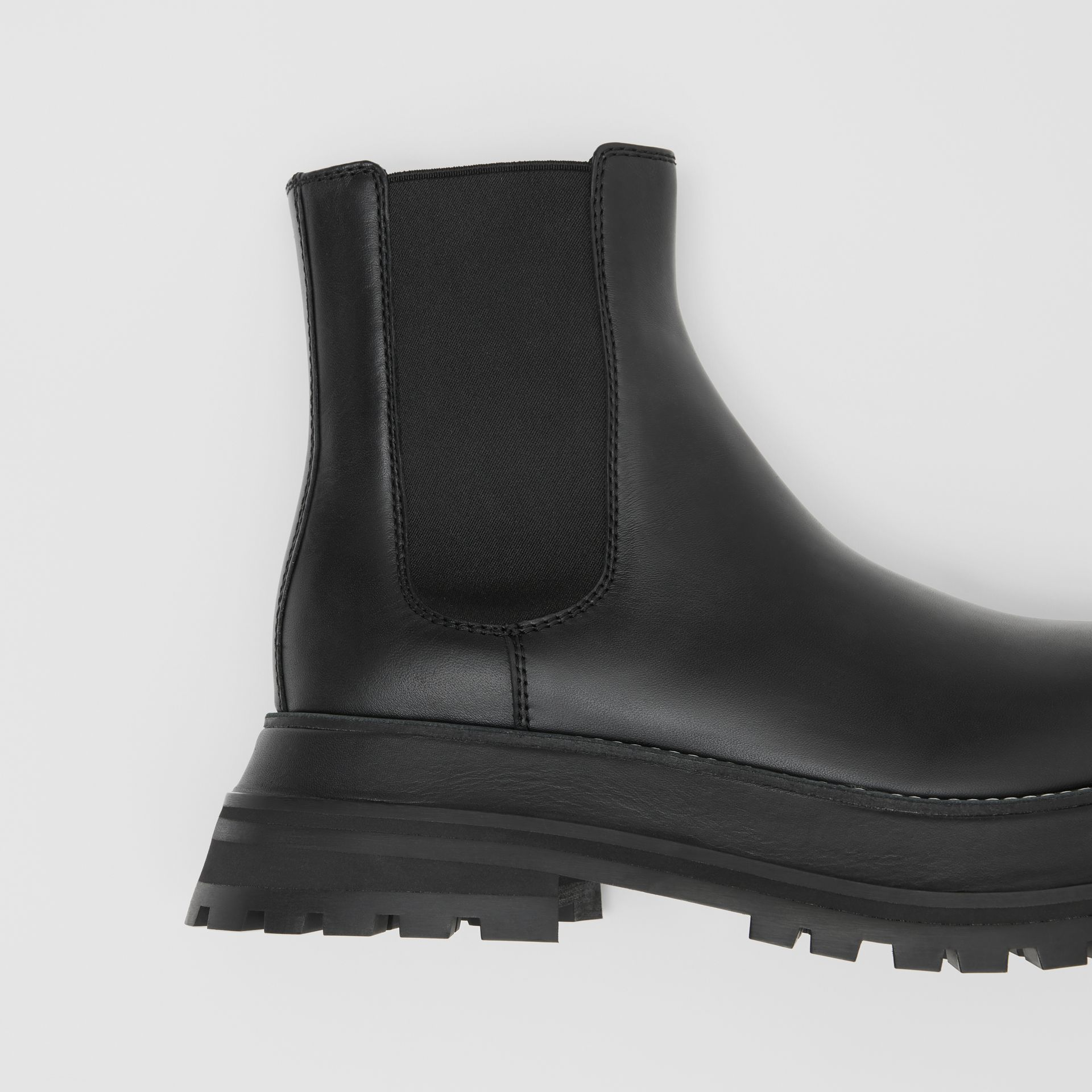 Leather Chelsea Boots in Black/black - Women | Burberry - gallery image 1